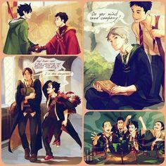 "Haikyuu on Hogwarts ♡ to be honest... I love all hogwarts crossovers ^-^"""