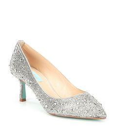 fa008ed09 Blue by Betsey Johnson Jora Glitter Jeweled Kitten Heel Pumps