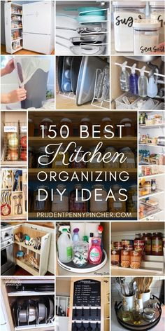 Get organized for less with these cheap and easy DIY kitchen organization ideas. There are over a hundred ideas to help you organize your pantry, fridge, cabinets, countertops and under the sink. home diy organizations 150 DIY Kitchen Organizing Ideas Small Kitchen Organization, Diy Kitchen Storage, Diy Organization, Kitchen Decor, Kitchen Ideas, Organized Kitchen, Pantry Storage, Kitchen Pantry Cabinets, Diy Cabinets