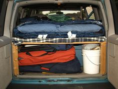 minivan camping. Doing this when the kids go to college!