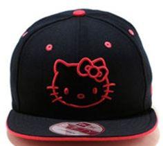 ad342d397cf Hello kitty Cat Snapback Hats Black New Era Snapback