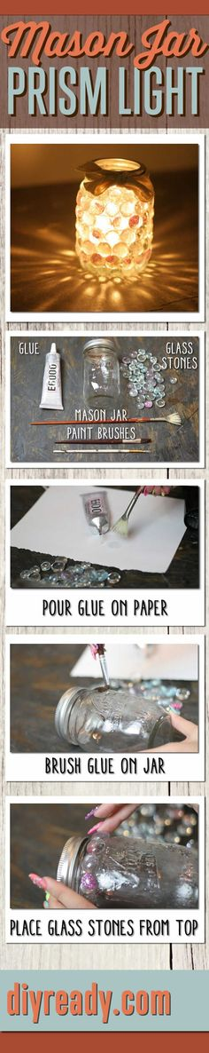 DIY Mason Jar Crafts | Dollar Store Craft Ideas - Easy DIY Prism Light Project | Infographics DIY Projects #diy #masonjar #crafts http://diyready.com/mason-jar-crafts-prism-candle-light/