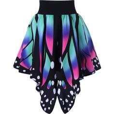High Waist Butterfly Shape Graphic Skirt ($16) ❤ liked on Polyvore featuring skirts, high-waisted skirts, high-waist skirt, high waisted skirts, high rise skirts and high waisted knee length skirt