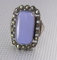 Antique Lavender Chalcedony sterling ring by vintagesparkles, $195.00