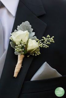 white rose and dusty miller