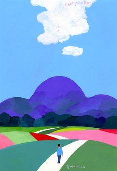 AnotherDesignBlog- KathyKavan Japanese Illustration, Pattern Illustration, Tea Illustration, Learn Art, Japanese Artists, Landscape Art, Kinder Art, New Art, Art Lessons