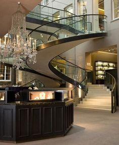 glass staircase ~Wealth and Luxury ~Grand Mansions, Castles, Dream Homes  Luxury homes