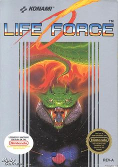 "Box art for Konami's shoot-'em-up game ""Life Force"" for the Nintendo Entertainment System, a.k.a. the arcade game ""Salamander,"" 1988"