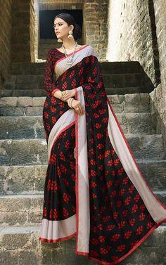 Buy Black Cotton Saree with Blouse - Lilots Fashion Black Cotton Saree, Green Cotton, Cotton Silk, Chiffon Saree, Silk Sarees, Sarees Online India, Saree Border, Designer Sarees Online, Printed Sarees