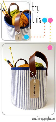 Fabric + Leather Project Baskets by fabricpaperglue, via Flickr