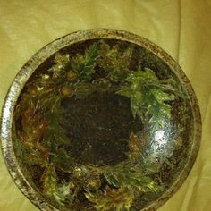 Wooden Bowl Slightly Oval Cuz Old Pyrography Oak Leaves Acorns Hand Painted   eBay
