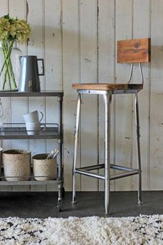 Metal Bar Stool with Wooden Seat