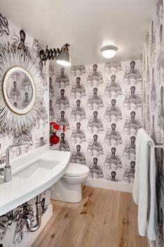 Modern Bath with Bold Octopus Wallpaper