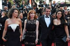 Guest Audrey Fleurot JeanPaul Rouve and Hafsia Herzi attends the Closing Ceremony during the 70th annual Cannes Film Festival at Palais des Festivals...