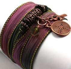 Hand Dyed Silk Wrap Bracelet - Dragon's Breath with Ancient Labyrinth and Ankh. $28.00, via Etsy.