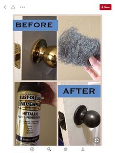 DIY: We have outdated hardware all throughout our home since our house was built in the mid We are on a budget, so a handy friend of mine told me to spray paint everything. The guy at Home Depot recommended this spray paint, and to use steel wool on Do It Yourself Design, Do It Yourself Baby, Home Improvement Projects, Home Projects, Home Improvements, Home Renovation, Home Remodeling, Bathroom Renovations, Cheap Remodeling Ideas