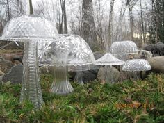 Things To Make With Old Crystal & Glassware - garden mushrooms