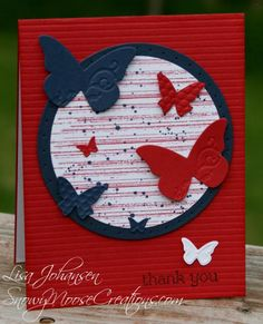 switch out butterflies for stars for a patriotic card ~ or ~ keep the butterflies and switch out color scheme Military Cards, Butterfly Cards, Blue Butterfly, Star Cards, Scrapbook Cards, Scrapbooking, Card Sketches, Masculine Cards, Homemade Cards