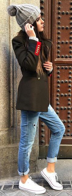 #winter #fashion /  Grey Beanie / Black Coat / Skinny Jeans / White Sneakers