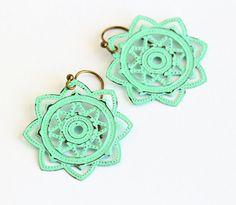 Mint Green Filigree Earrings Metal Flower by JacarandaDesigns