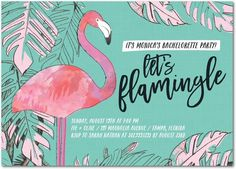 Flamingle Party - Signature White Bachelorette Party Invitations - Stacey Day…
