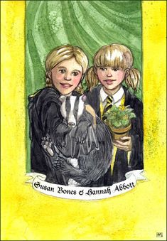 Susan Bones & Hannah Abbott by Leochis Harry Potter Fan Art, Harry Potter Books, Harry Potter Universal, Harry Potter Fandom, Severus Rogue, Hufflepuff Pride, Albus Dumbledore, Mischief Managed, Fantastic Beasts