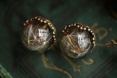 Dandelion earrings dandelion wish dandelion by RubyRobinBoutique