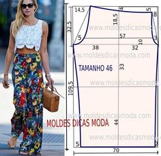Beautiful Things are Love and Dreams : Roupas frescas de Verão muito simples de. - Best Sewing Tips Sewing Pants, Sewing Clothes, Dress Sewing Patterns, Clothing Patterns, Fashion Sewing, Diy Fashion, Costura Fashion, Diy Vetement, Pants Pattern