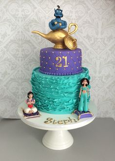 28 Simple Jasmine Cake ideas to inspire your birthday celebrations These trendy Food Recipes ideas would gain you amazing compliments. Check out our gallery for more ideas these are trendy this year. Jasmine Birthday Cake, Aladdin Birthday Party, Aladdin Party, Birthday Celebration, 5th Birthday, Cake Birthday, Birthday Ideas, Princess Jasmine Cake, Disney Cakes