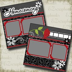 HOMECOMING High School 2 Premade Printed Scrapbook Pages