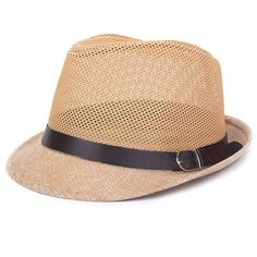 New Mens Summer Styles Breathable Travel and Casual Jazz Hat Hollow Grid Formal Fashion Trendy Linen Hat Fedora Cap