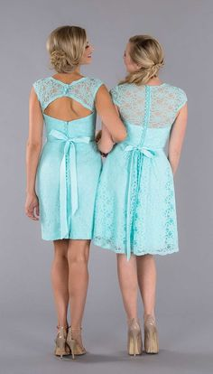 These short lace bridesmaid dresses have some seriously eye-catching backs! | Kennedy Blue Bridesmaid Dress Colette | Kennedy Blue