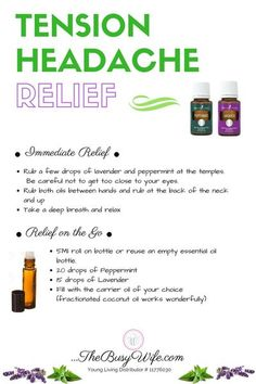 Essential Oils For Migraines, Young Essential Oils, Essential Oil Starter Kit, Essential Oils Guide, Essential Oil Diffuser Blends, Oil For Headache, Tension Headache Relief, Roller Bottle Recipes, Massage