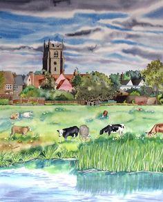 """Cattle Grazing, Sudbury Water Meadows"" Suffolk Watercolour Landscape Painting"
