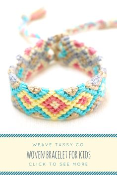 """Friendship Bracelet for Kids by @WeaveTassyCo   This woven kids bracelet for girls is a cute summer accessory for your little ones. It's a mini friendship bracelet for kids made with soft cotton threads and can fit 4"""" - 6"""" wrist sizes. It's very light and easy to wear. Just tie it around your kid's wrist, and she's good to go! This cute and colorful bracelet is the perfect gift for boys and toddlers."""