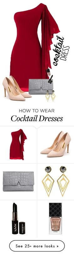 """Cocktail Dress"" by arrow1067 on Polyvore featuring Vince, Rupert Sanderson, Sarah Magid, NYX, Gucci and cocktaildress"