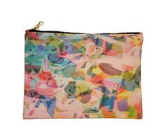 """Colorful painted blocks in different hues on this two-sided clutch. Printed on thick cotton twill, and fully lined with printed cotton. Medium size is slightly smaller than our big clutch, and makes a great bag to use on its own, or for organizing within a larger bag. Perfect for a night out on the town, or for running errands. Measurements: 10"""" wide x 8"""" tall (25.4 cm x 20.3 cm)"""