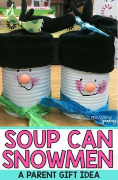 These soup can snowmen are adorable! They are a wonderful gift for students to make for their parents (or grandparents or guardians). I love the step by step tutorial. This project is definitely doable.