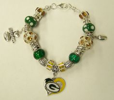 Green Bay Packers European Bracelet - $20.00  *****   Check out Charming Tales Jewelry on Facebook    *****   Can ship within the US for $2.25