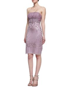 Sequined Strapless Cocktail Dress by Sue Wong at Neiman Marcus.