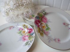 Vintage Noritake Pink Turquoise Floral by thechinagirl on Etsy, $39.50