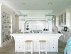 White kitchen, cute lights---House of Turquoise: Brooks & Falotico House Of Turquoise, Beautiful Kitchens, Beautiful Homes, Beautiful Beach, Waterfront Homes, My Dream Home, Home Kitchens, Dream Kitchens, Kitchen Remodel