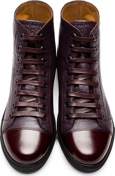 Marc Jacobs: Plum Grained Leather High-Top Sneakers