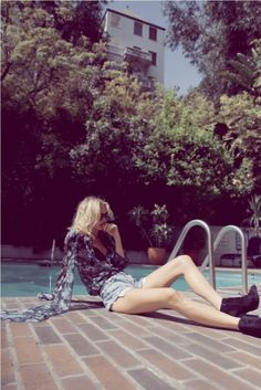 Image from StyleStalker's lookbook, found on Knight Cat's fashion blog. Respectfully ignore the girl and take in the Chateau Marmont's famous swimming pool. It's pretty good, right? Good enough for Lindsay Lohan and Sofia Coppola.