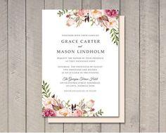 Invitación de la boda flores imprimible DIY por vintagesweetdesign