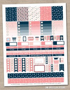 Navy and Pink Printable Planner Stickers PDF Instant Download Weekly Graphics