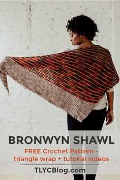 The Bronwyn Shawl, an asymmetrical triangle wrap with stripes and texture – TL Yarn Crafts – Crochet 2020 Crochet Shawl Free, Crochet Shawls And Wraps, Crochet Scarves, Crochet Clothes, Crochet Stitches, Knit Crochet, Crochet Triangle Scarf, Crochet Vests, Crochet Edgings