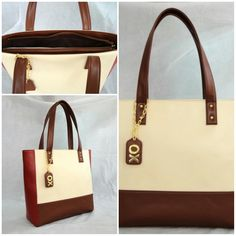 Our Medium Basic Shoulder Bag customized in Off White body, Cranberry sides, Cherry Wood bottom with Gold metalwork, Choco Brown inside lining & a Hanging Tag monogram. :) See more at: http://www.toteteca.com #baglove #customized #monogrammed #minimal #love