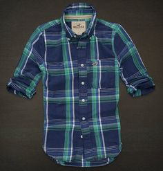 NWT Hollister by Abercrombie Men Plaid Shirt Blue Navy New S