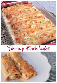 I sure do love these shrimp enchiladas. They are cheesy, flavorful, and totally different from the usual enchilada. I sure do love these shrimp enchiladas. They are cheesy, flavorful, and totally different from the usual enchilada. Shrimp Dishes, Fish Dishes, Mexican Dishes, Shrimp Pasta, Shrimp Dip, Main Dishes, Best Shrimp Enchilada Recipe, Enchilada Recipes, Seafood Recipes